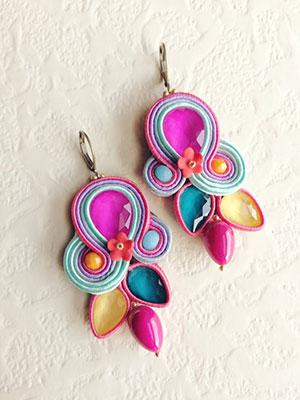 orecchini colorati soutache