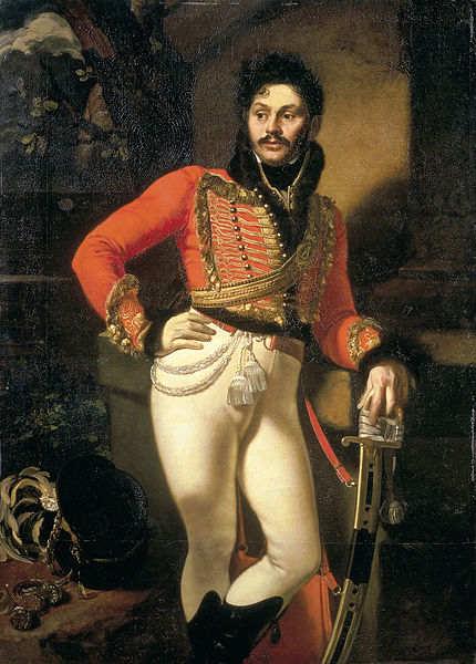 Ritratto del 1809 di un colonnello dell'esercito russo in uniforme da ussaro, decorata con soutache.